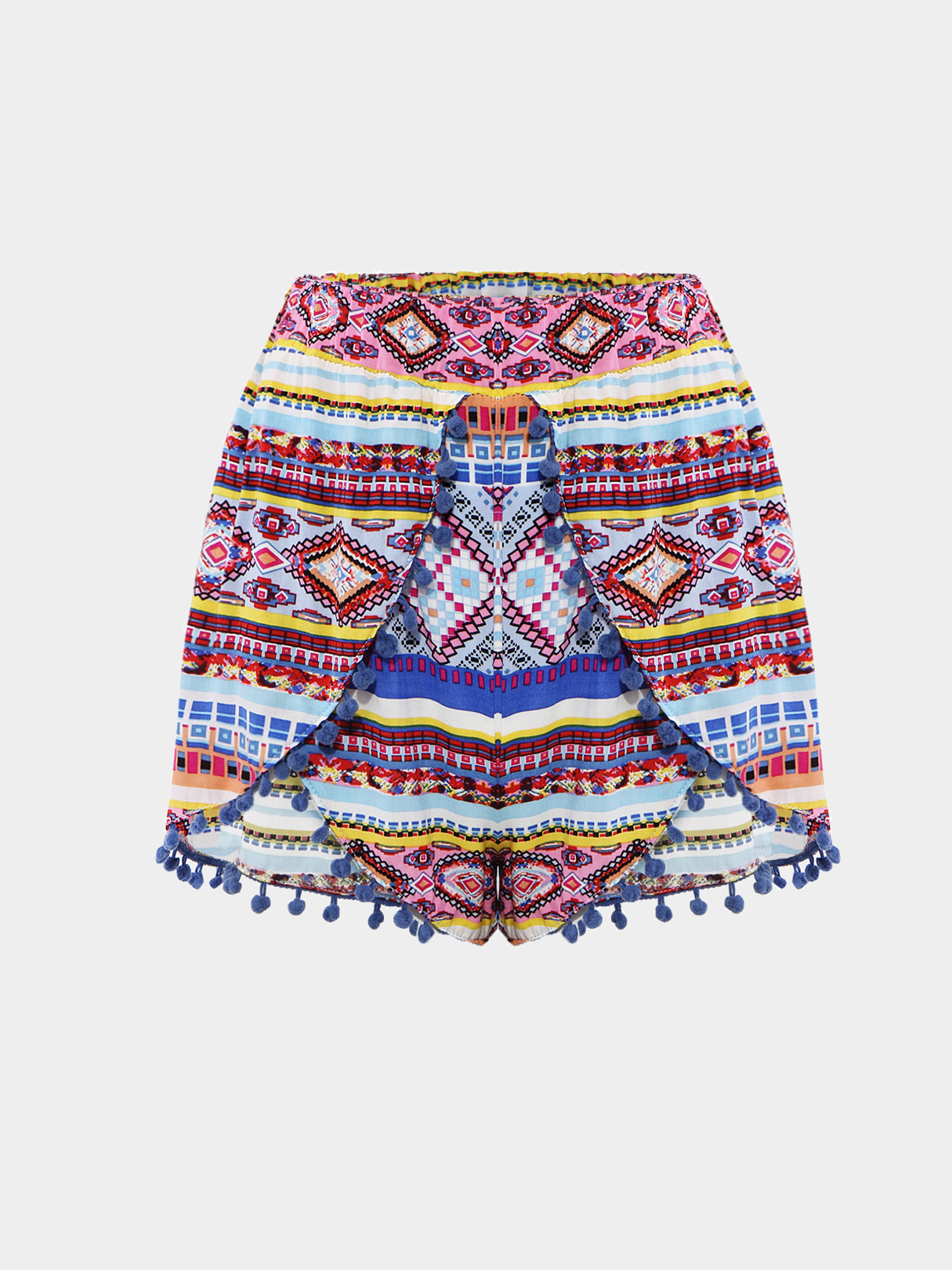 Tribla Print Butterfly Front Shorts With Pom Pom Trim