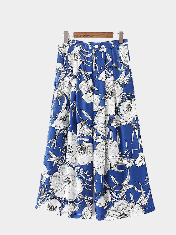 Random Floral Print Pleated Wide-leg Trousers
