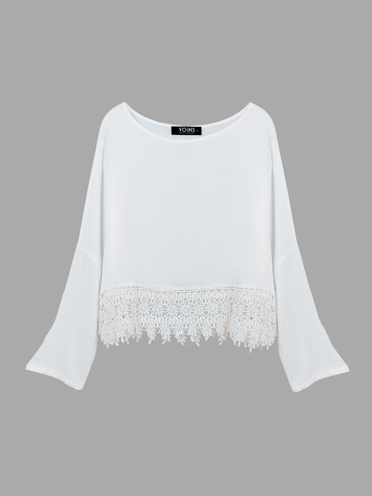 See-through Cropped Top with Crochet Lace Hem