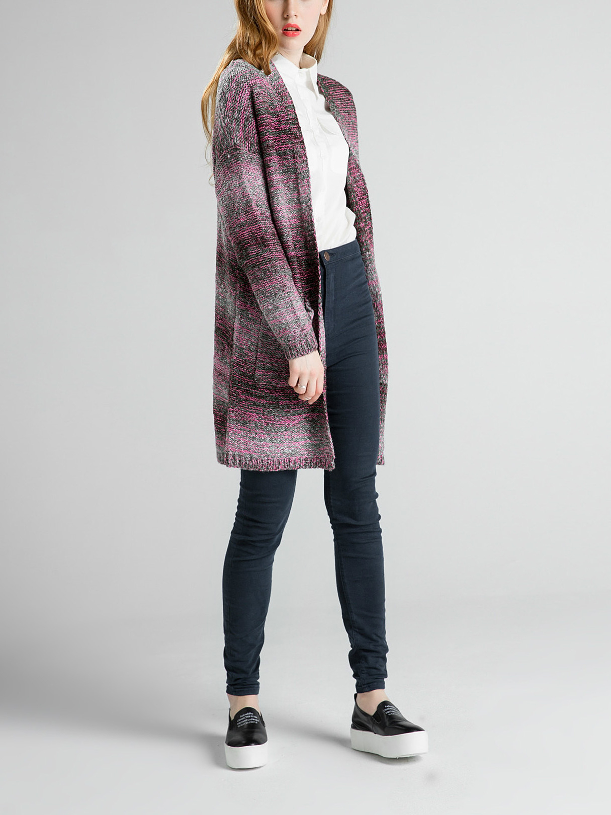 Red Knitted Cardigan with Open Front от Yoins.com INT