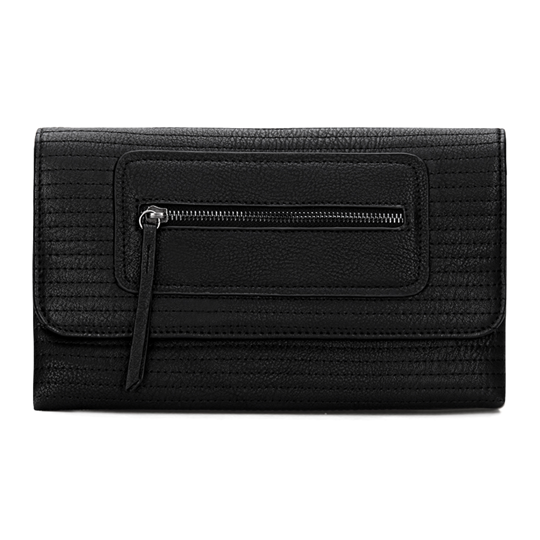 Black Leather-look Clutch Bag with Allover Seam Detail
