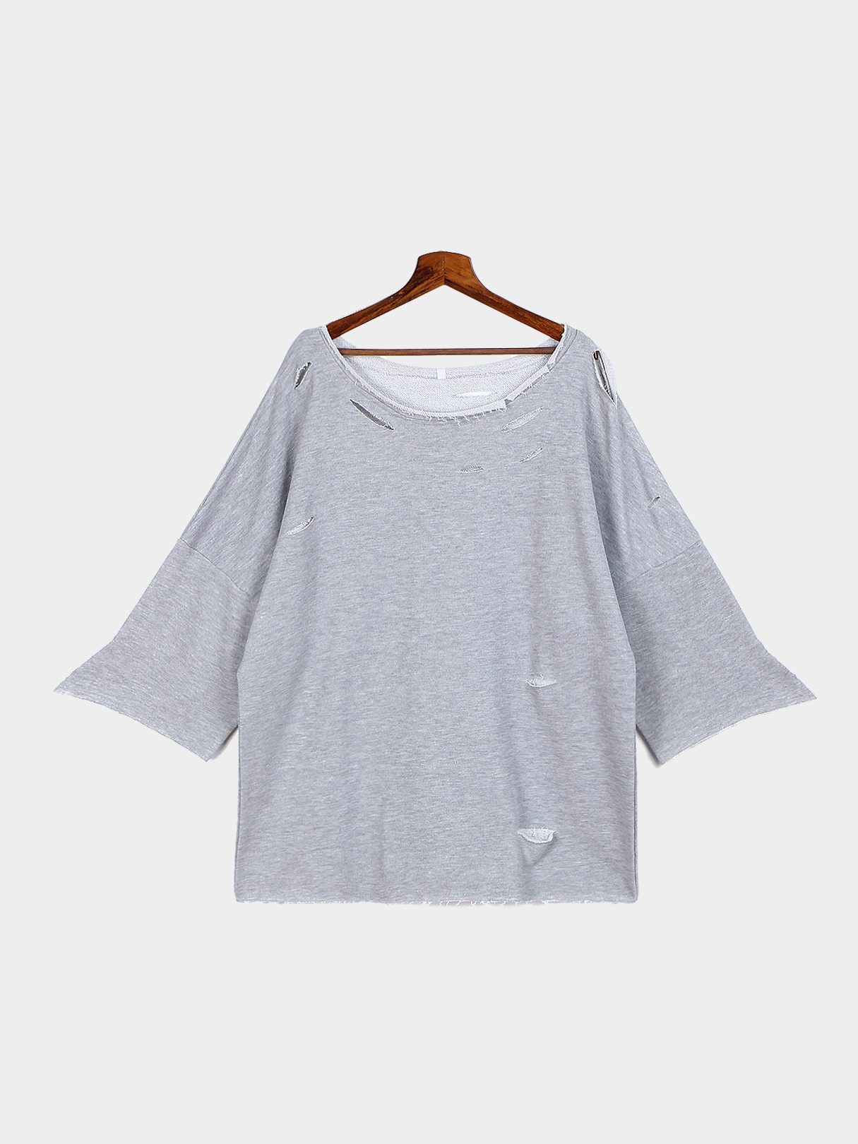 Grey Loose Wide Sleeves Hollow Out Sweatshirt