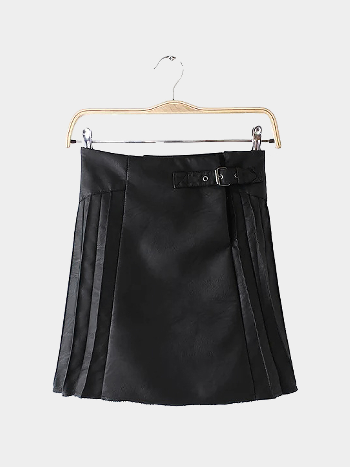 Black Leather Mini Skirt with Pleated Side