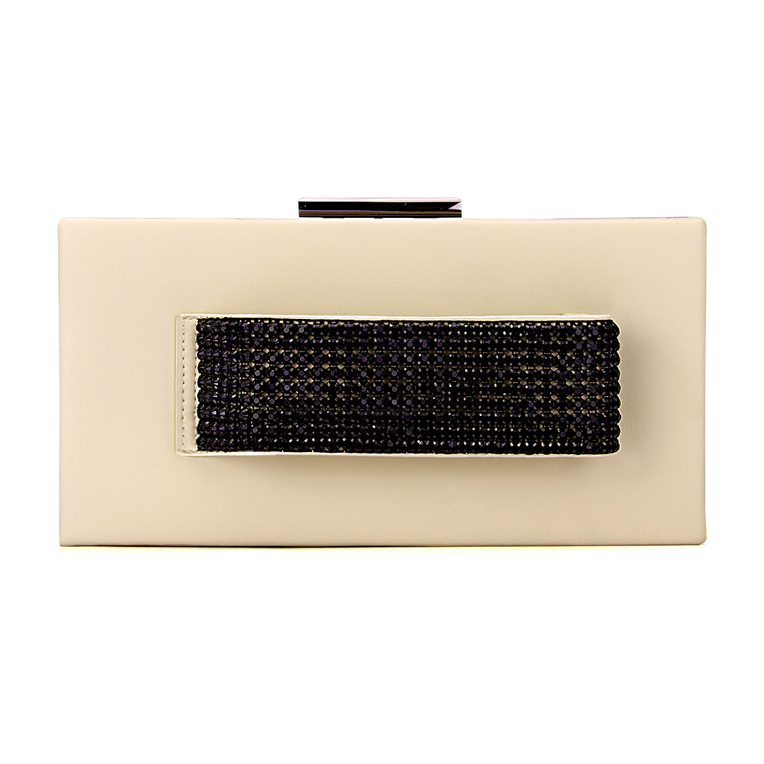 Leather-look Box Clutch Bag with Hand Grab in Beige