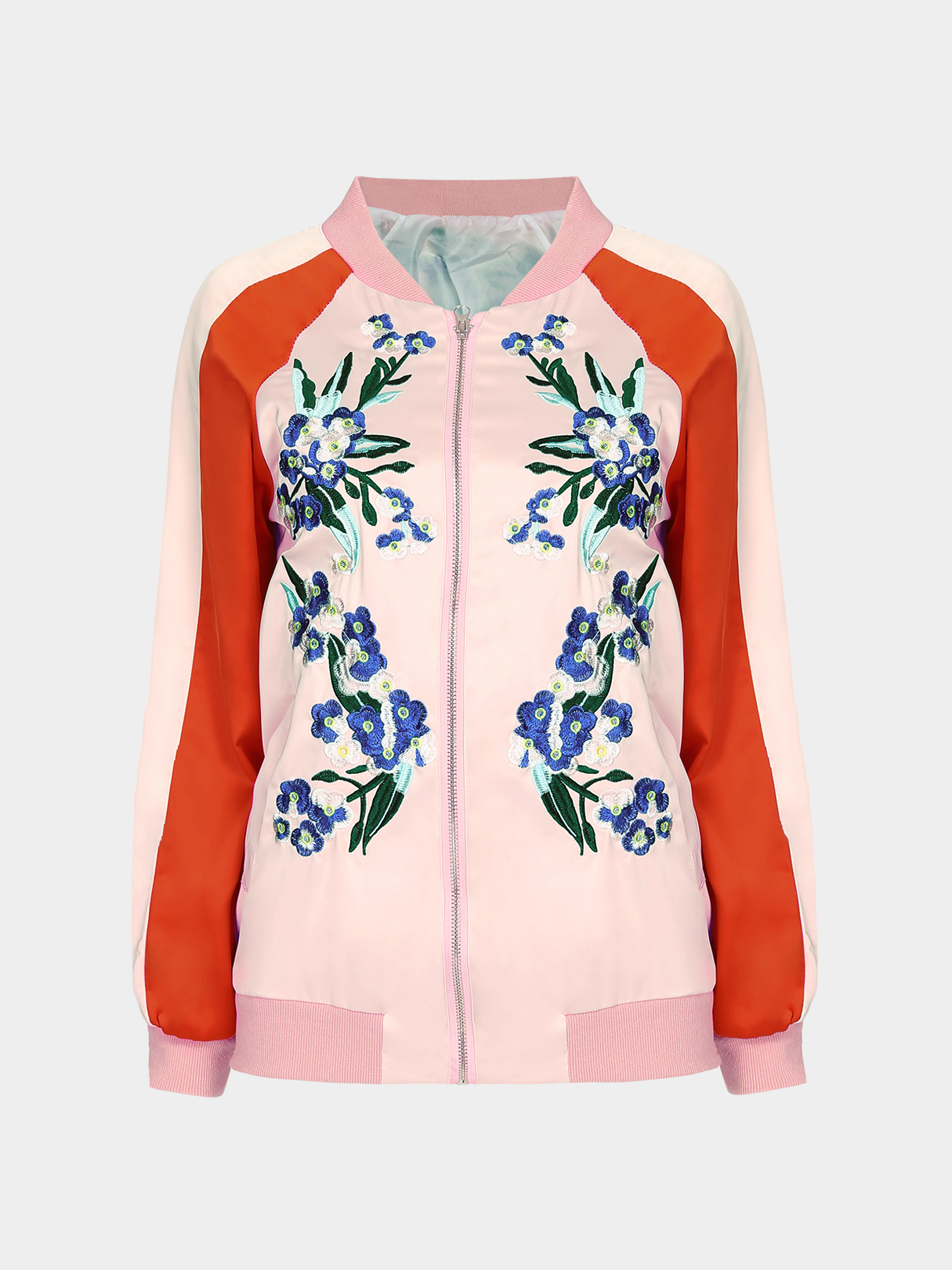 Fashion Embroidery Pattern Pockets Bomber Jacket