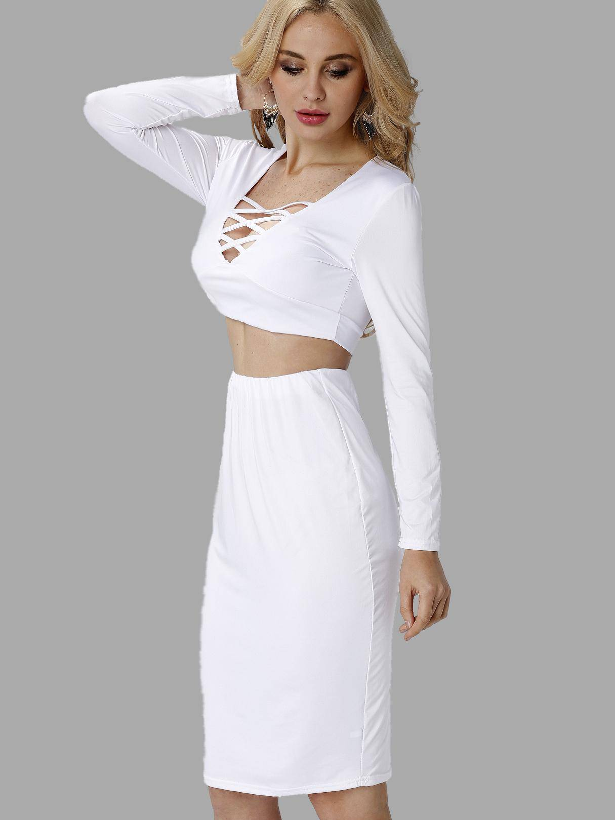 White Hollow Out Crop Top & Midi Skirt Co-ord