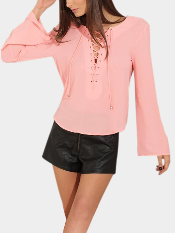 Pink Sexy Lace-up Backless Top