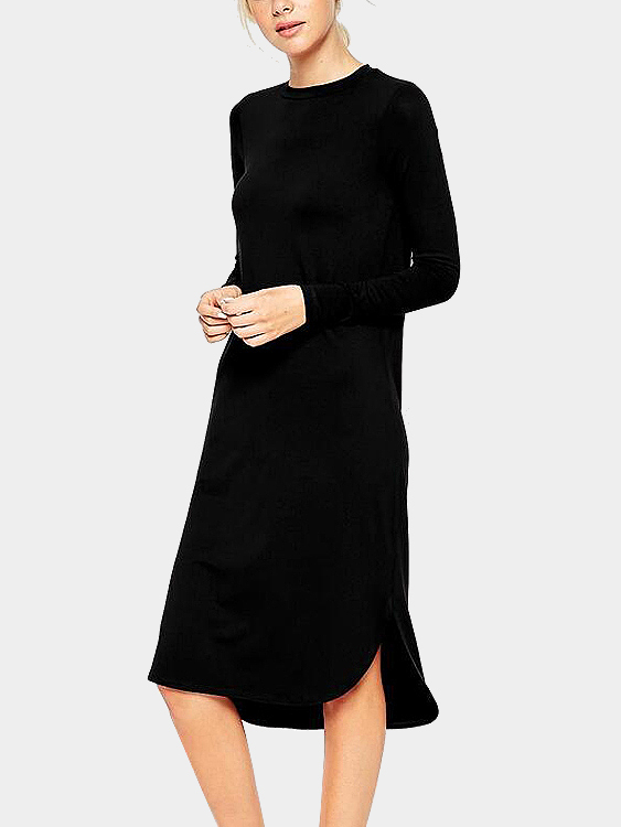 Casual Black Long Sleeves Split Details Midi Dress