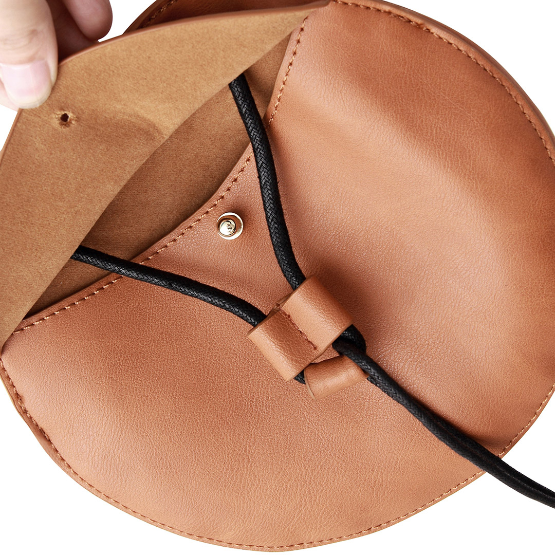 Round Mini Cross Body Bag in Brown with Tassel от Yoins.com INT
