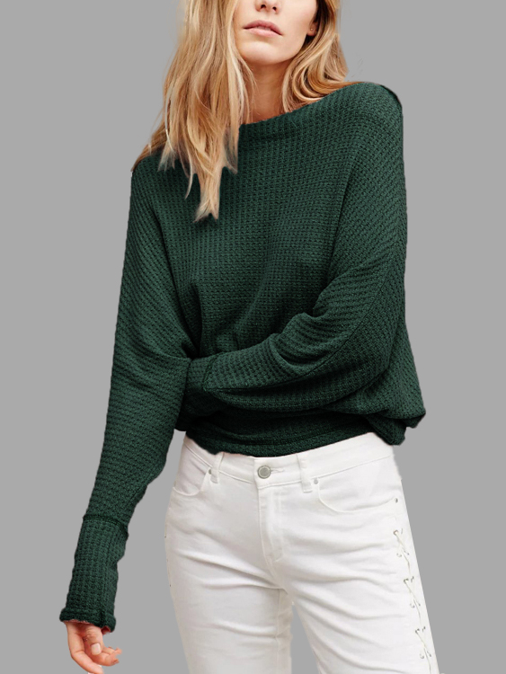 Casual Green Loose Bat-wing Sleeves Design Sweater