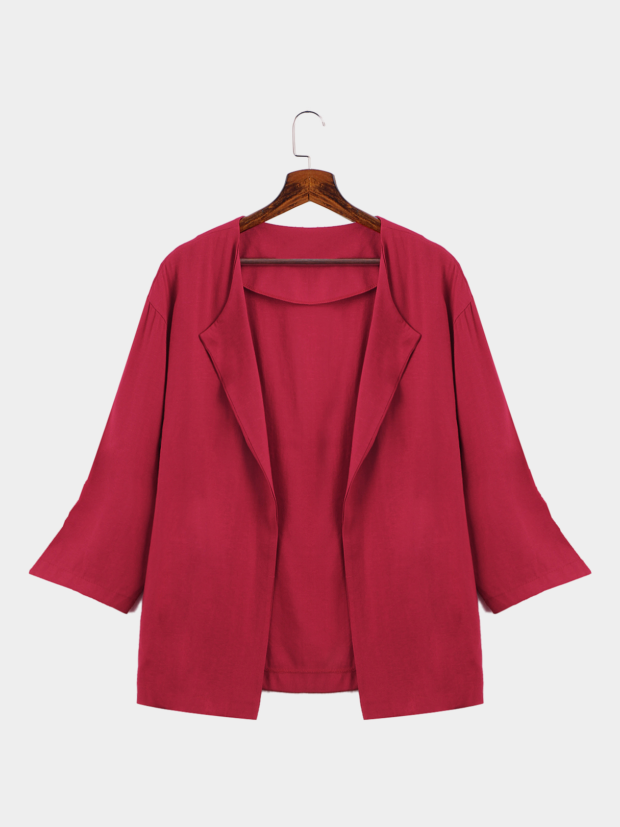 Red Casual Loose Fit Easy-matched Outwear