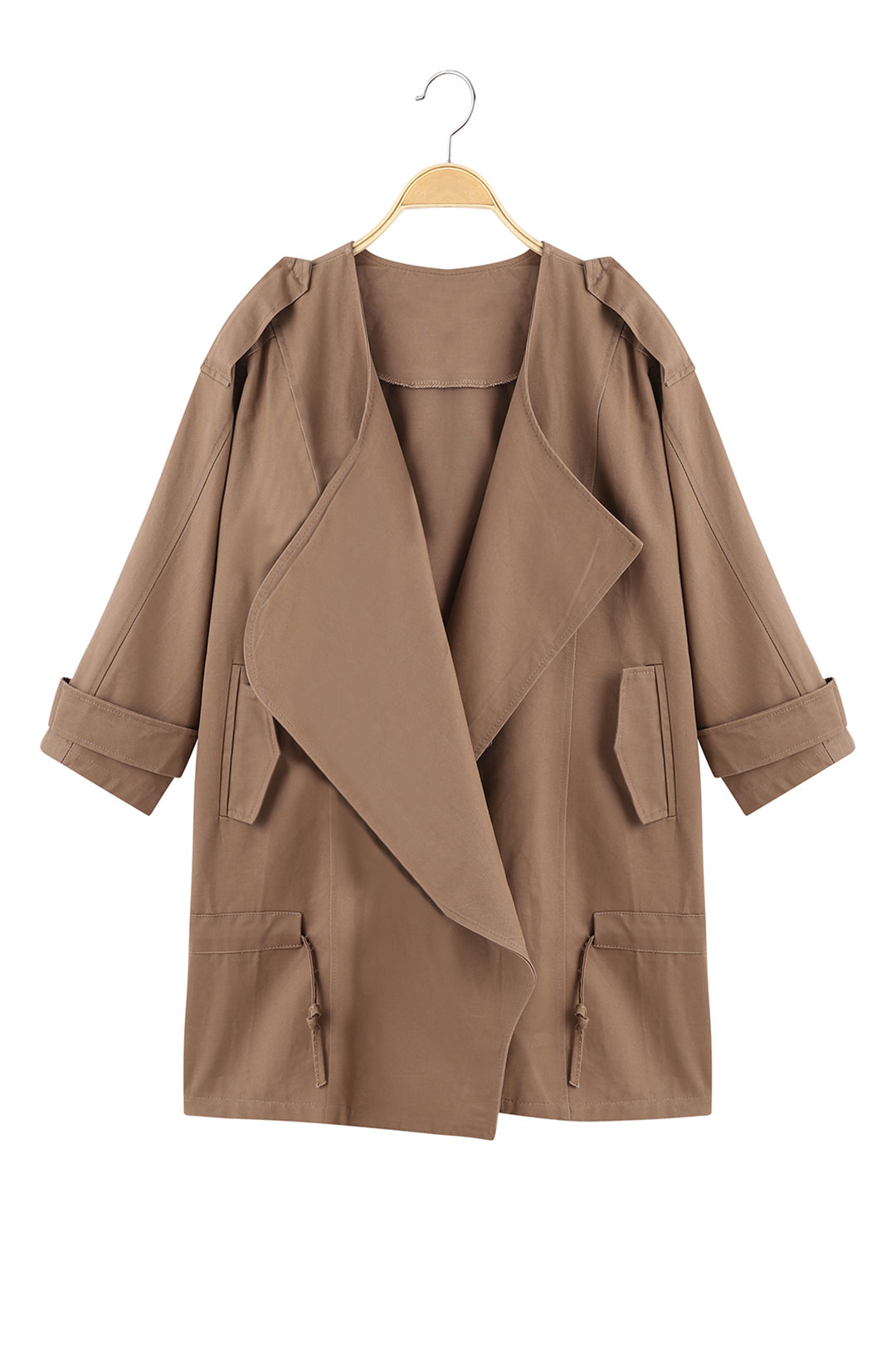 Classics Collection Solid Khaki 3/4 Sleeve Waist Tie Trench Coat