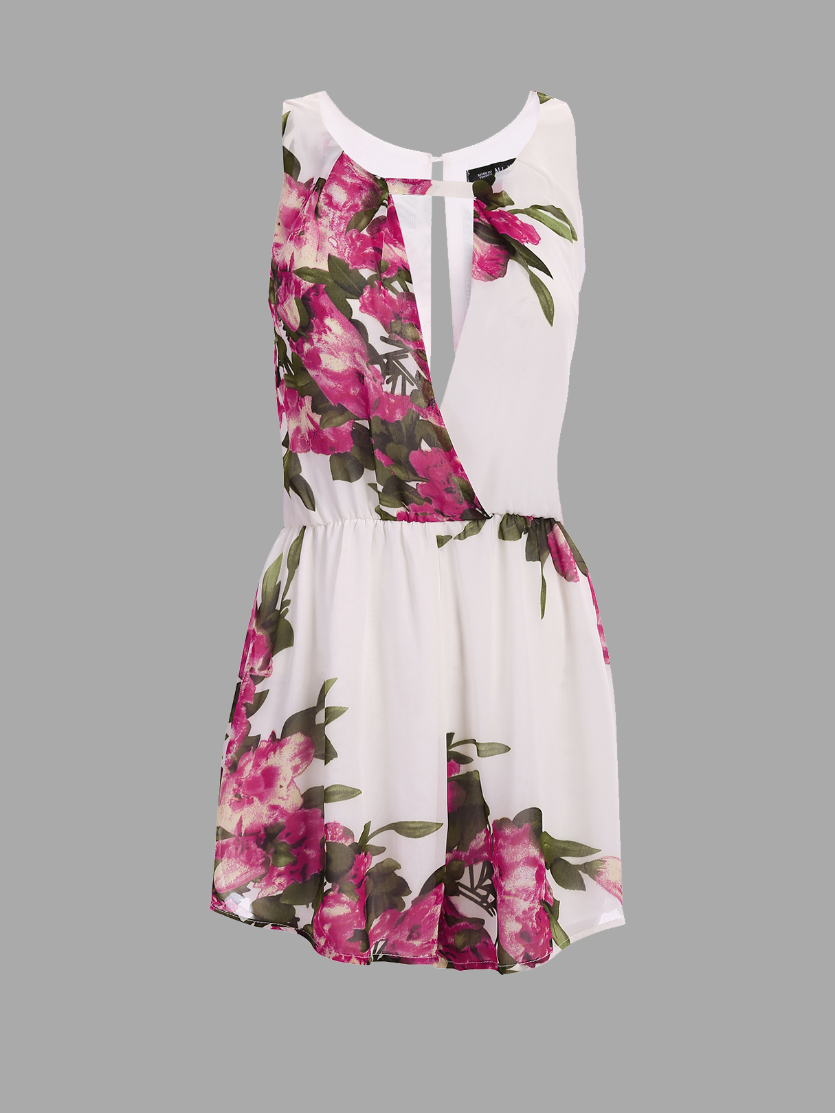 Semi Sheer Floral Print Sleeveless Elastic Waist Playsuit