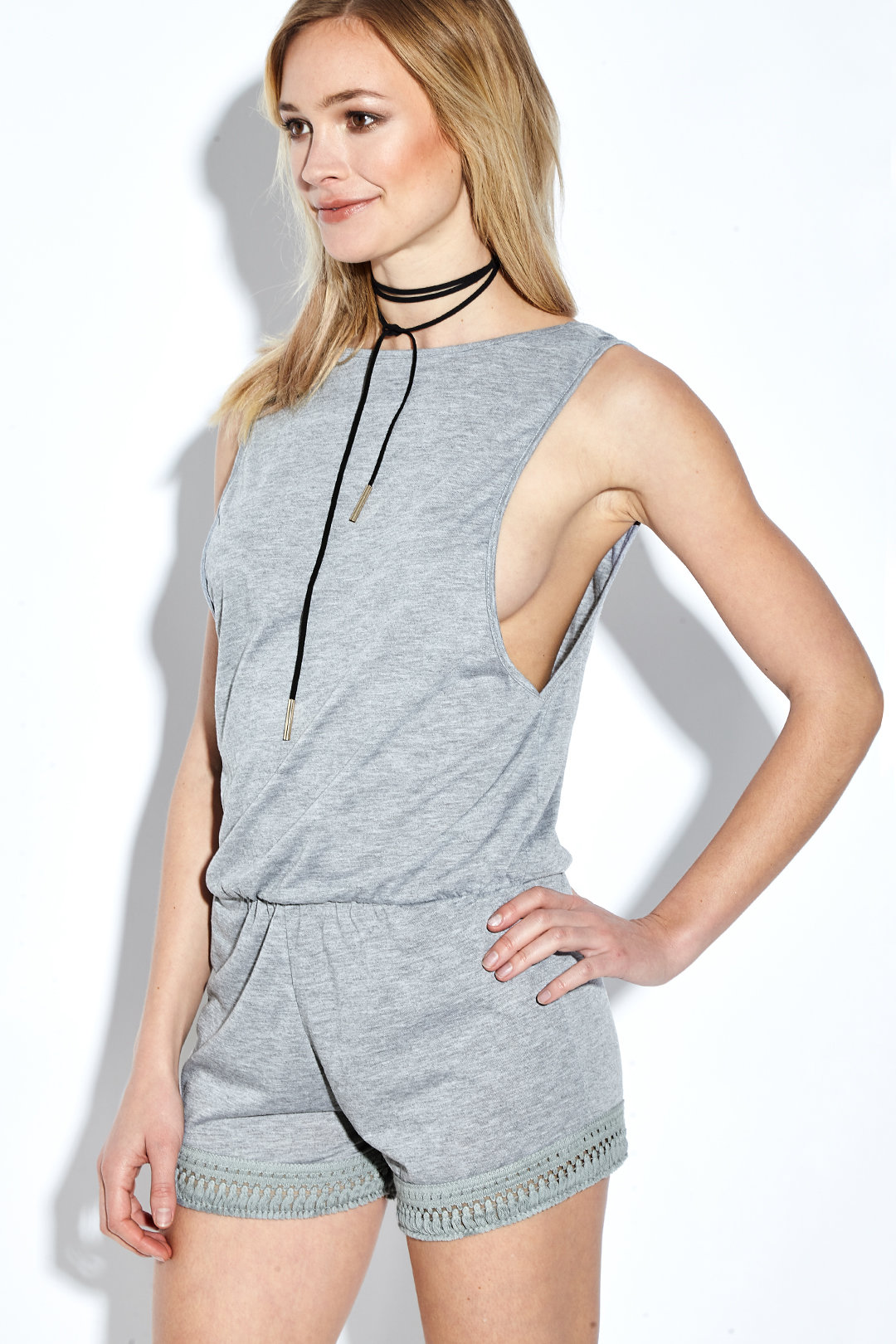 Grey Round Neck Tassel Sleeveless Playsuit with Low Back