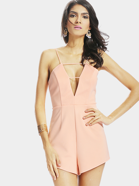 Sexy Sleeveless V-neck Playsuit with Zip back Fastening
