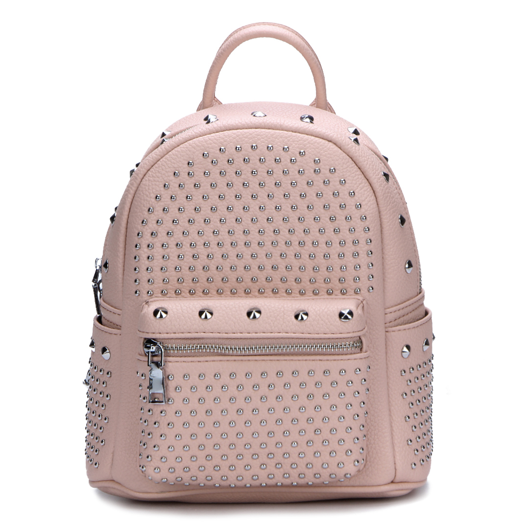 Pink Leather-look Backpack with Rivet Design