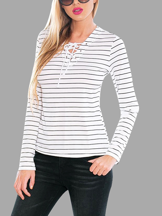 Stripe Casual Lace-up T-shirt