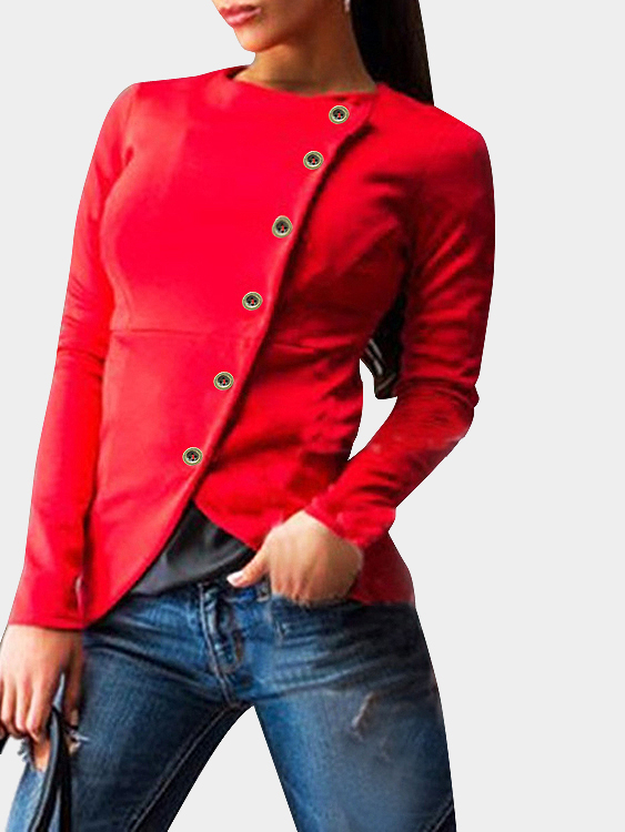 Red Sexy Oblique Button Closure Biker Jacket