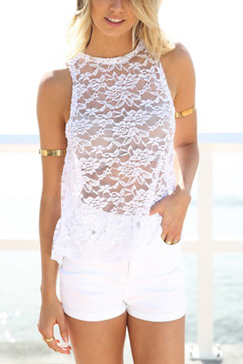 Back Split Crochet Lace T-shirt in White