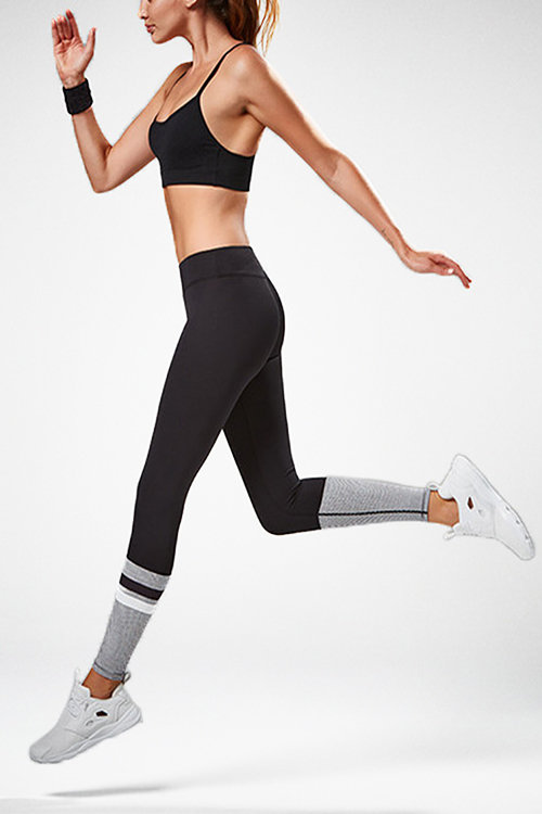Fashion Elastic Stripe & Dot Pattern Yoga Leggings