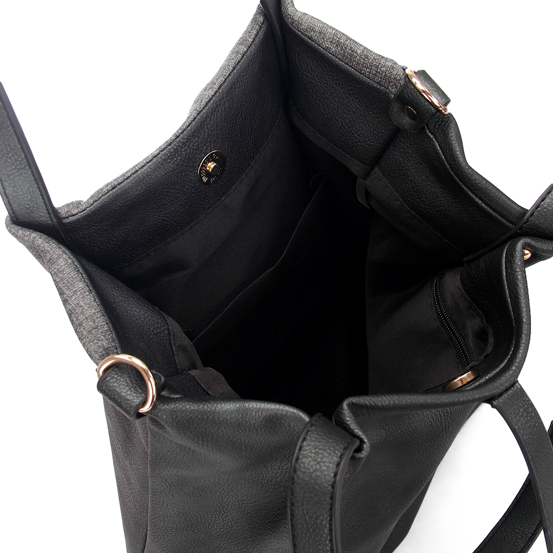 Black Leather-look Spliced Shopper Bag with Tassel and Embroidered Detail от Yoins.com INT