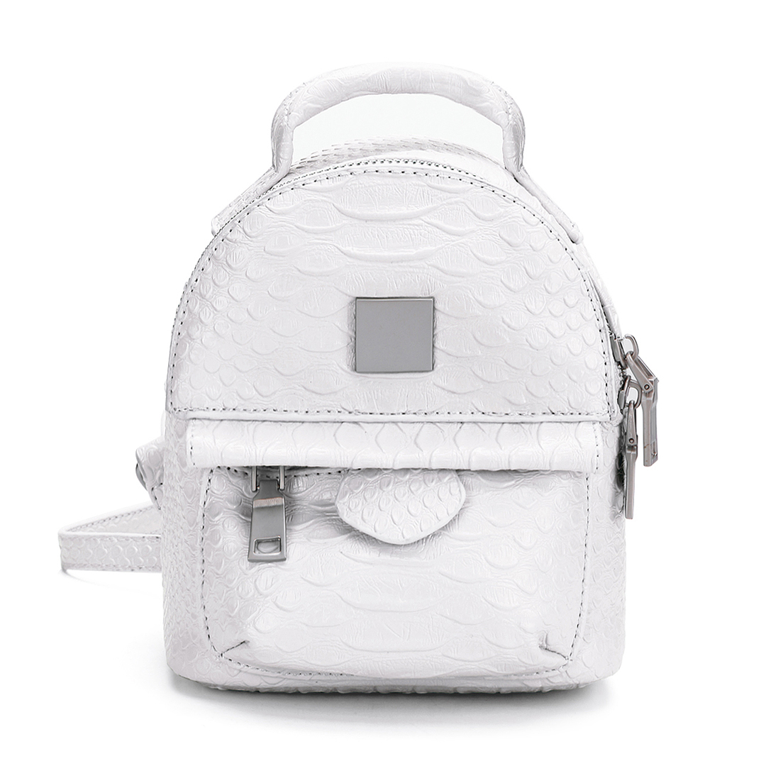 Snake Leather-look Mini Backpack in White