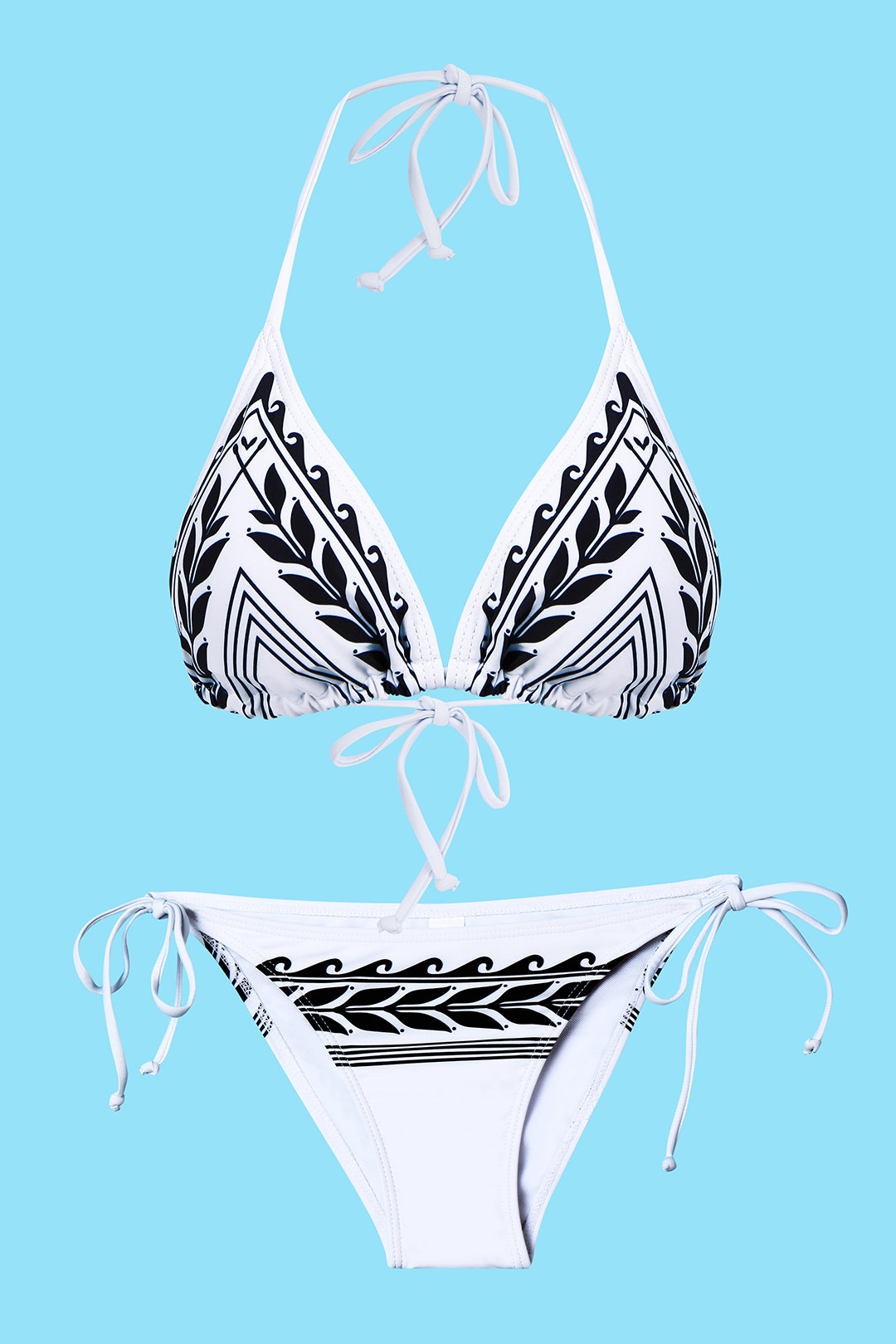 White Tied Halterneck Floral Pattern Adjustable Side Ties Bikini Set