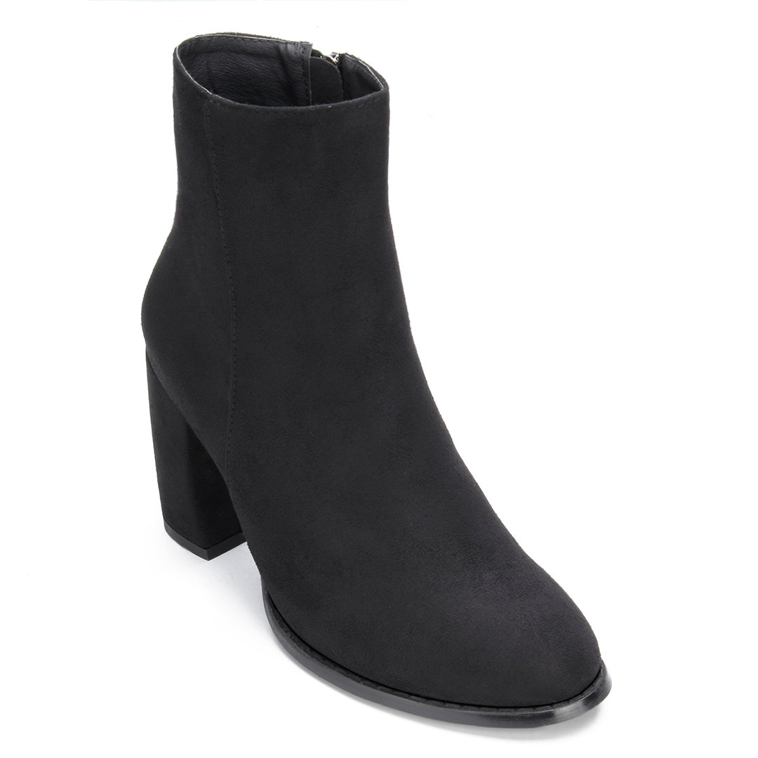 Black Suede Chunky Heels Zipper Design Short Boots