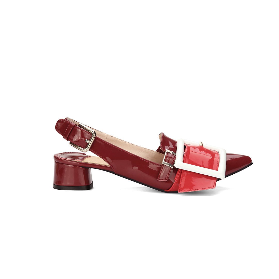 Red Pin-buckle Detail Pointed Toe Low Block Heel Sling-back Shoes