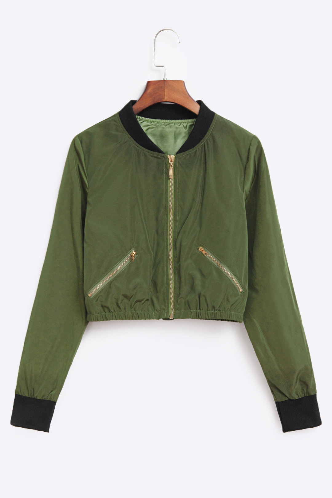 Army Green Chimney Collar Zipper Front Bomber Jacket With Side Zippers