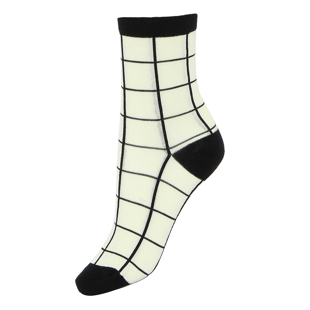 Retro Grid Ribbed Ankle Socks