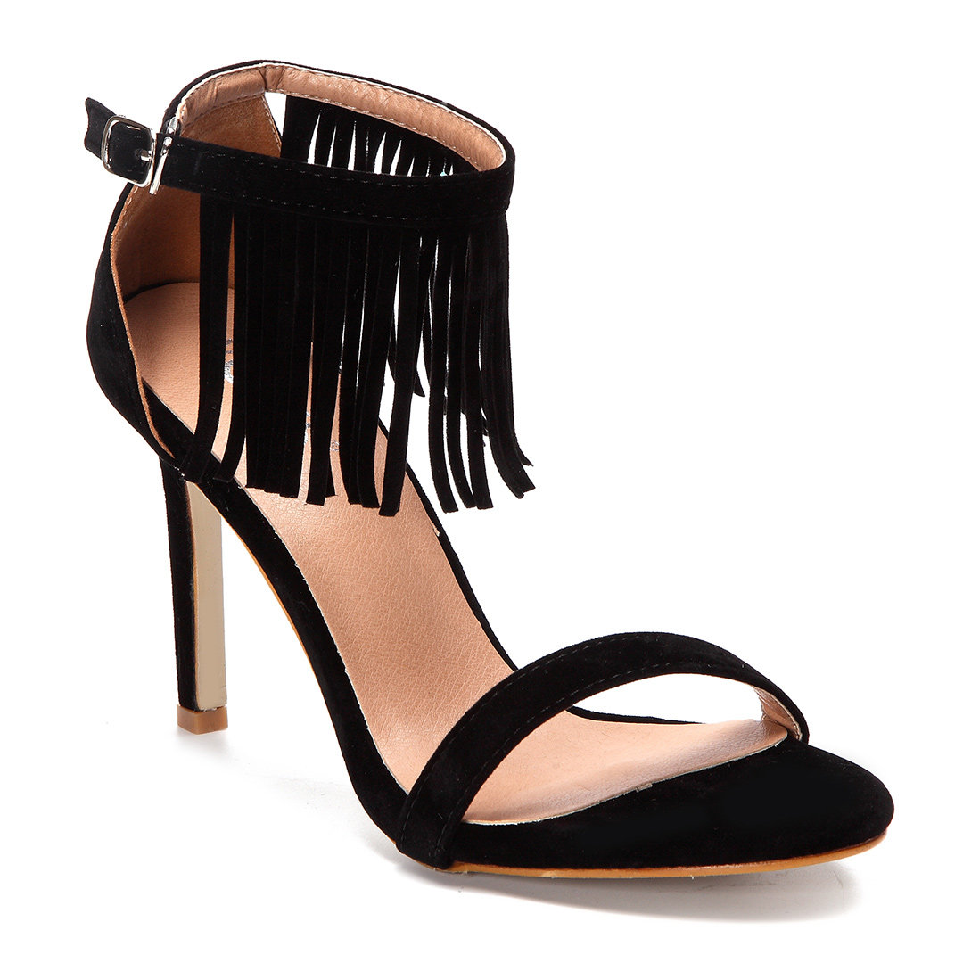 Black Tassel Embellished High Stiletto Heels