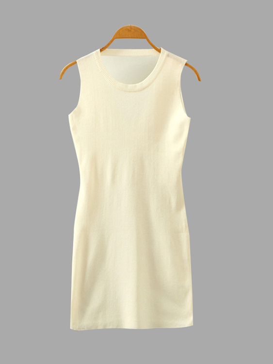 White Sleeveless Round Neck Mini Dress