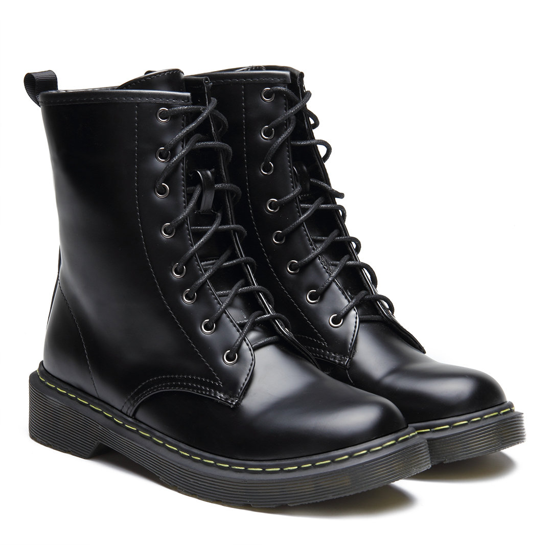 Black Leather-look Lace-up Design Short Boots