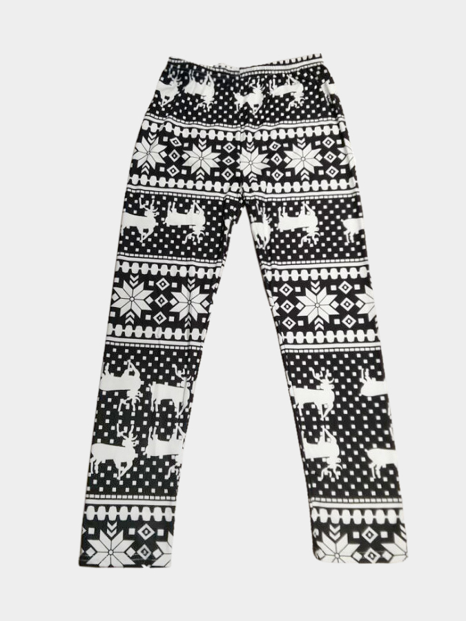 Black Deer and Snowflake Print Fashion Leggings