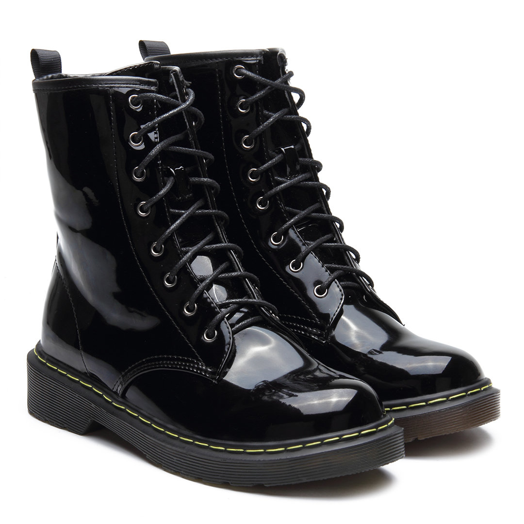 Black Patent Leather Lace-up Design Short Boots