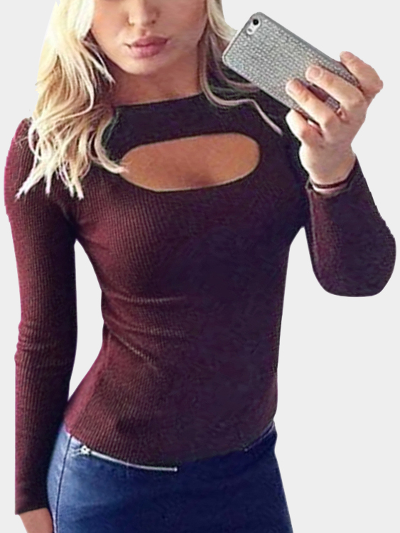 Burgundy Knitted Round Neck Hollow Front Design Bottoming Blouse