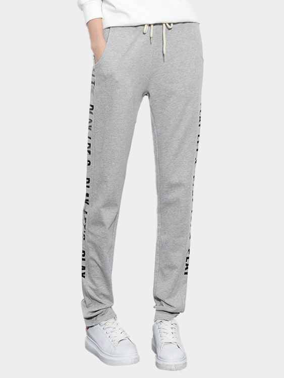 Gray Casual Letter Pattern Trousers