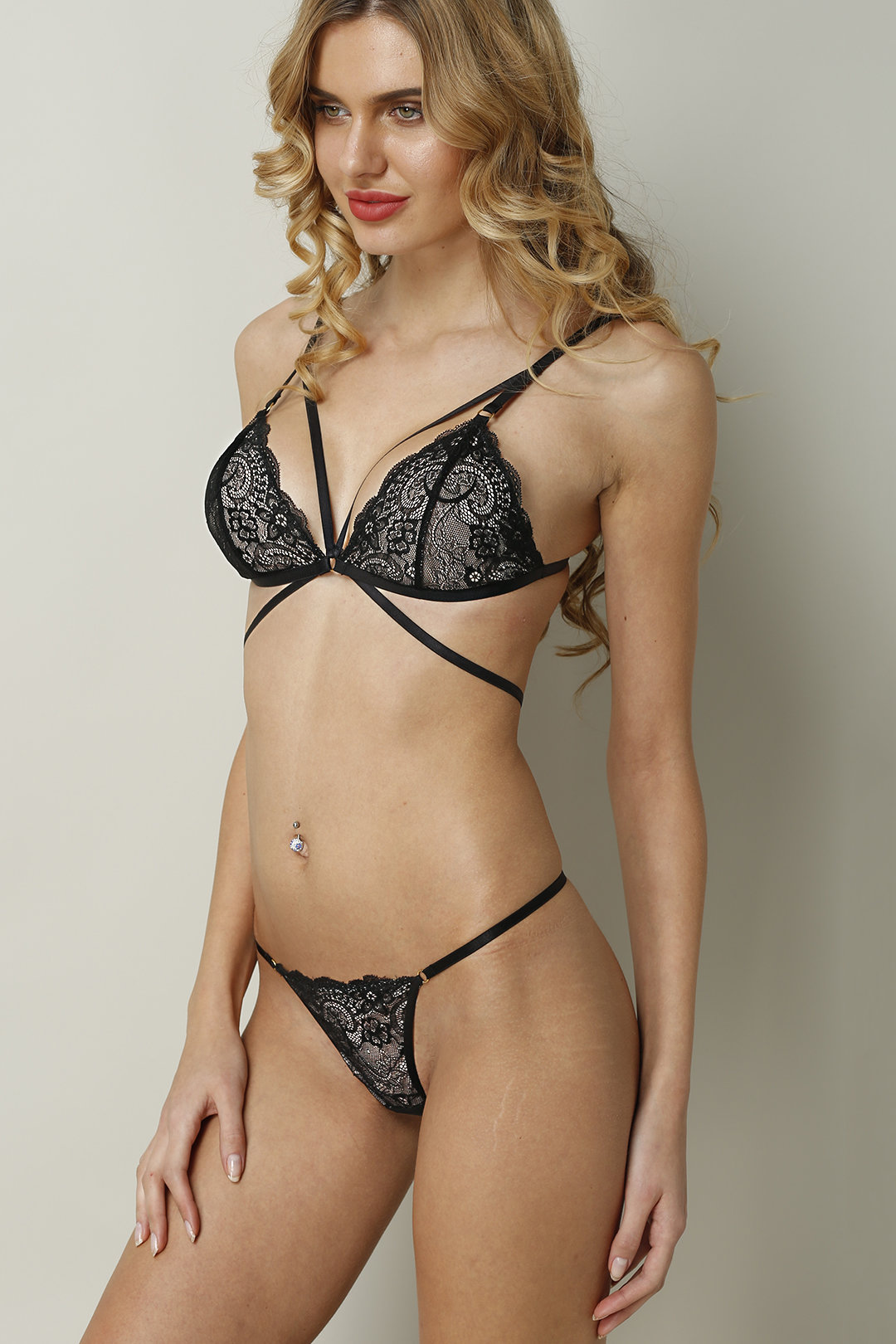 Black Sexy Sheer-through Lace Lingerie Set With No Falsies