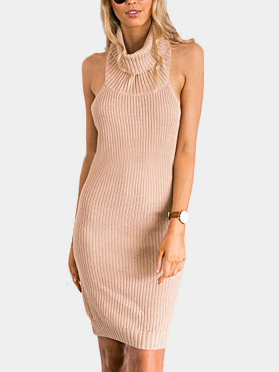 Sleeveless High Neck Knitting Bodycon Mini Dress