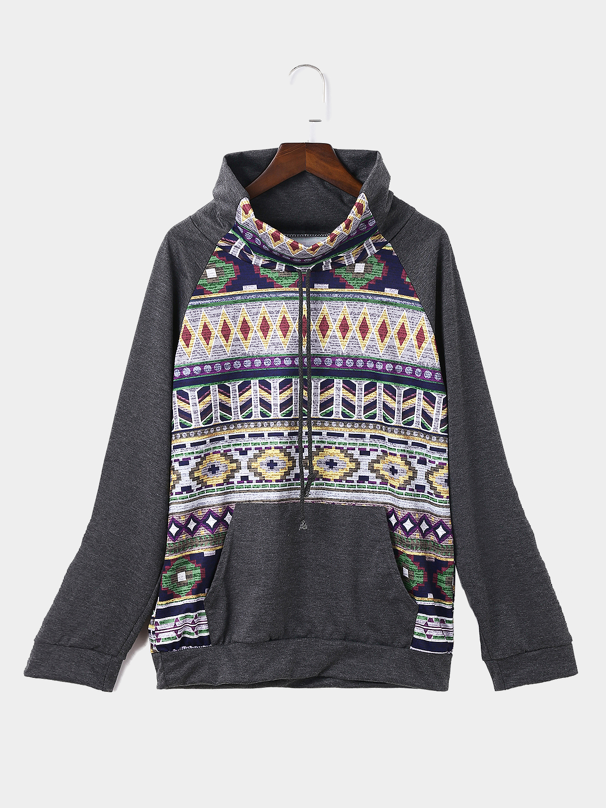 Grey Causal Randam Floral Print Drawstring Poll Neck Long Sleeves Sweatshirt