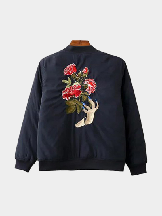 Black Long Sleeves Bomber Jacket With Embroidery Pattern