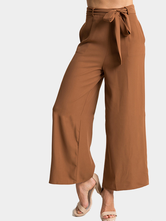 Brown Fashion Side Pockets Palazzo Pants with Belt