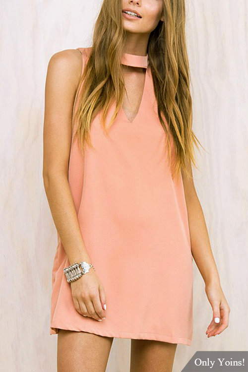 Triangle Cut Out Sleeveless Mini Dress