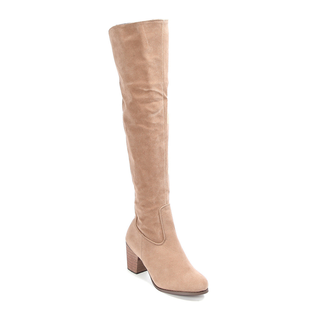 Apricot Nubuck Leather Over The Knee Boots