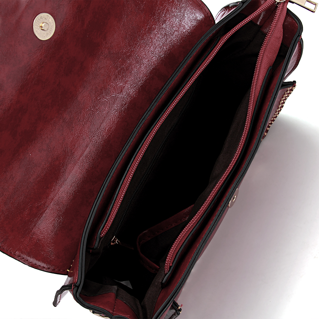 Burgundy Batchel Bag with Contrast Trims and Magnetic Closure от Yoins.com INT