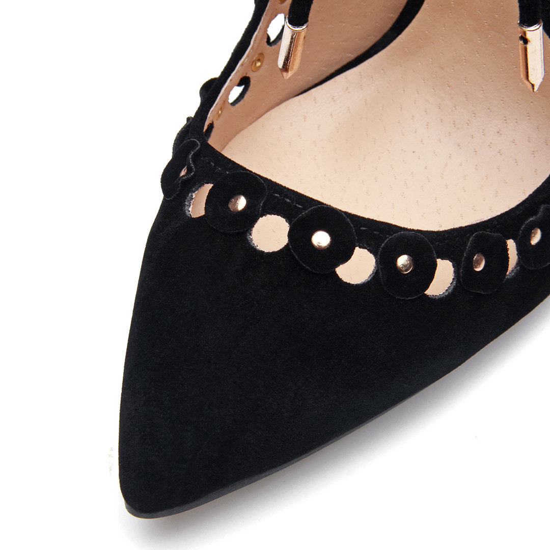 Black Suede Pointed Toe Lace-up High Heels от Yoins.com INT