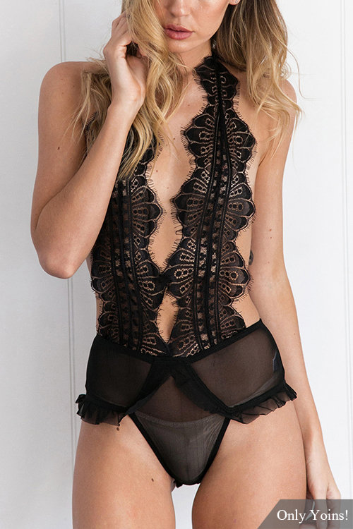 Black Sexy See-through Self-tie Open Back Lace Details Lingerie