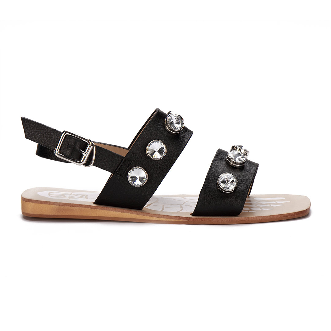 Black Artificial Diamond Embellishment Pin Buckle Strap Fashion Flat Sandals