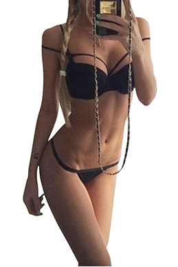 Sexy Black Sleeveless Bodycon Bikini Set SKU435068